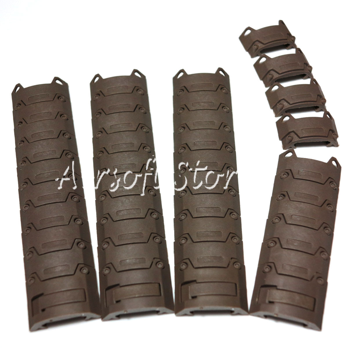 4pcs Set Tactical Gear D-Boys 20mm RIS Sectional Armor Rail Cover Panel Brown