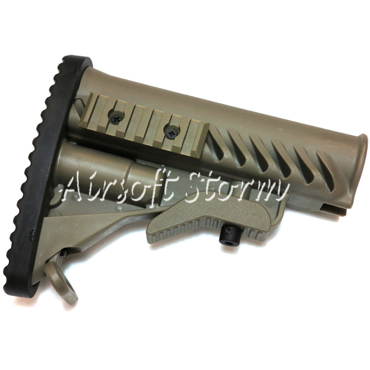 Airsoft Tactical Gear APS Battle Tele Style Stock for M4/M16 AEG ACU Foliage Green