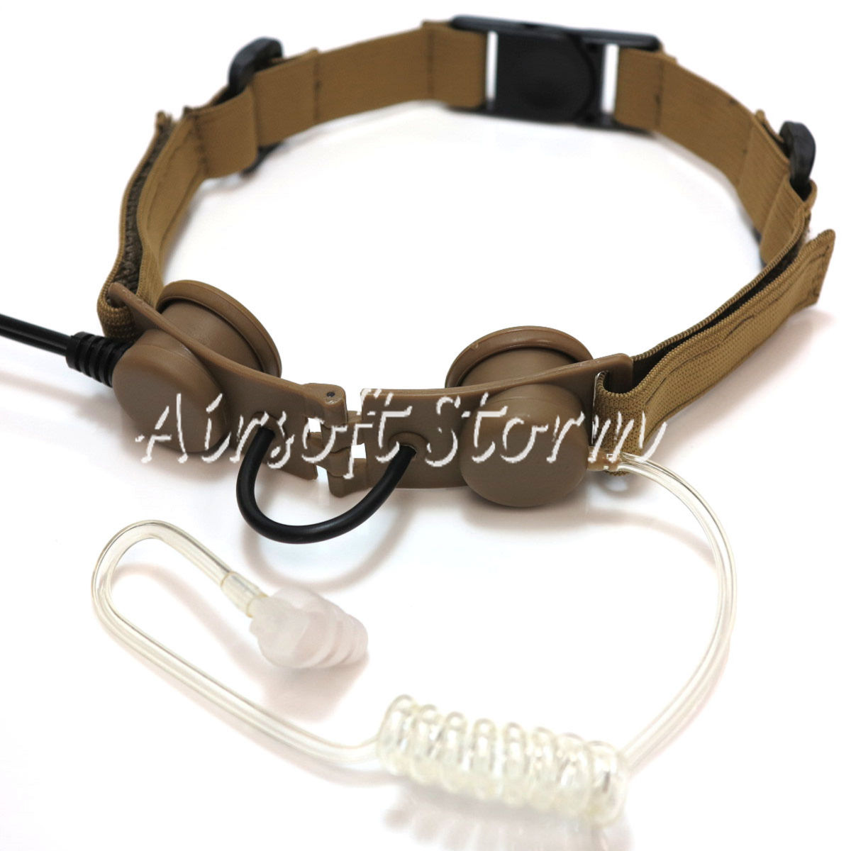 Airsoft Gear SWAT Z Tactical Throat Mic Headset Desert Tan
