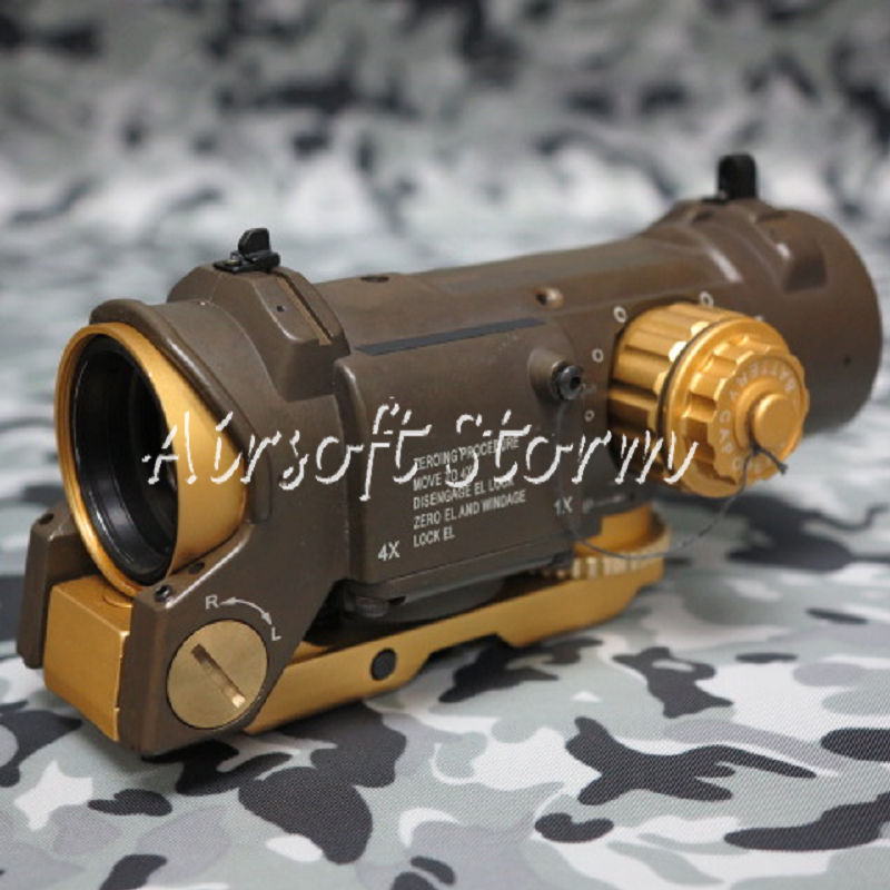 SWAT Gear Tactical 4x Elcan SpecterDR Type Red Green Dot Sight Scope Brown Tan