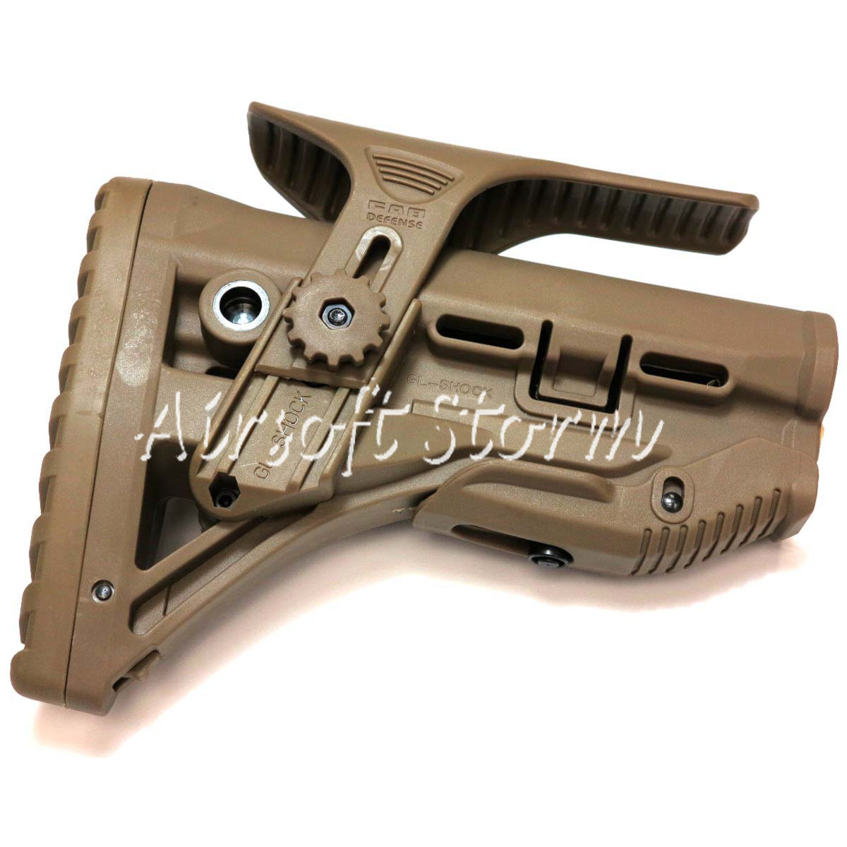 Airsoft Tactical Gear GL-Shock Style Recoil-Reducing M4/AR-15 Stock with Riser Dark Earth