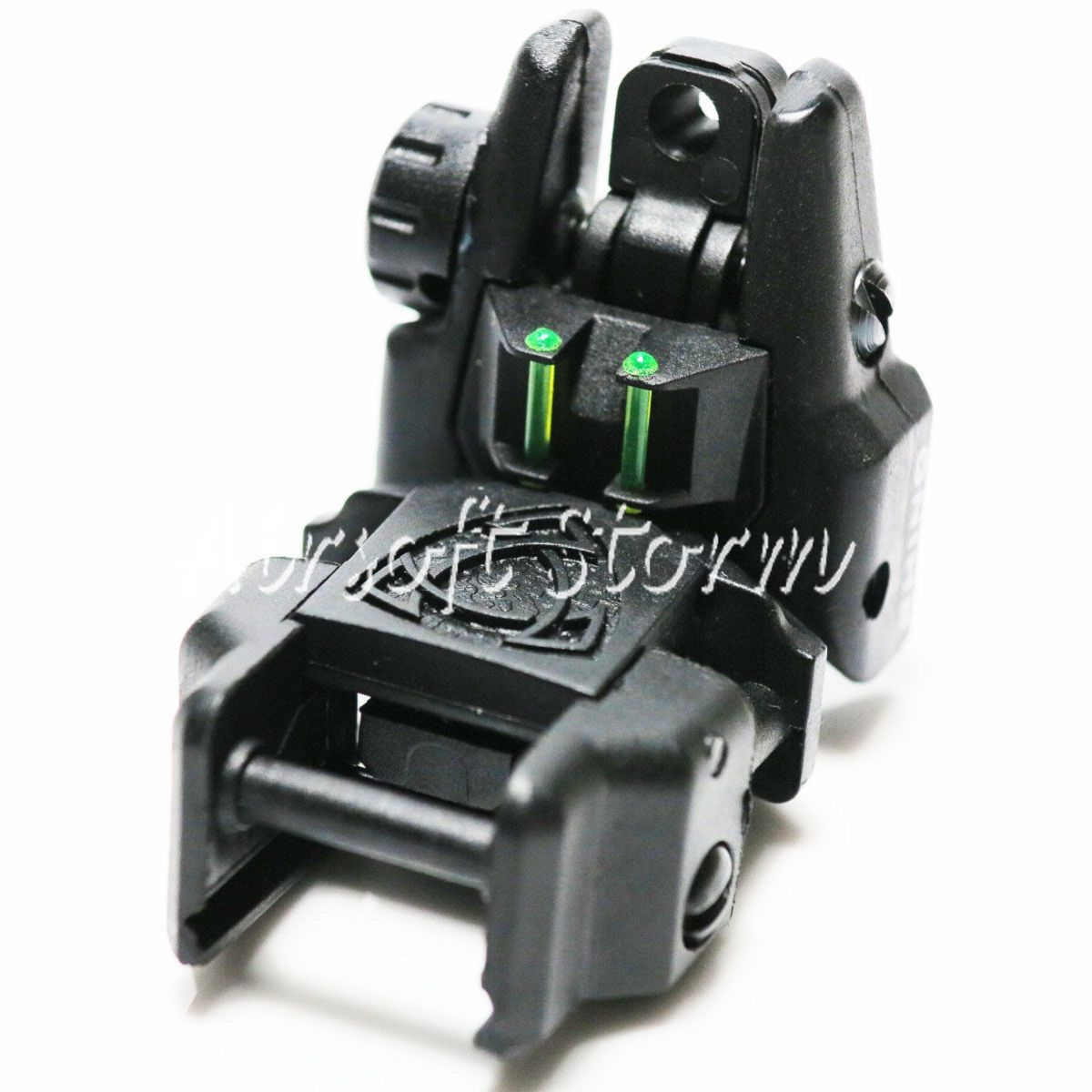 Airsoft AEG Gear APS Rhino Rear Sight with Fiber Optic Black/Green