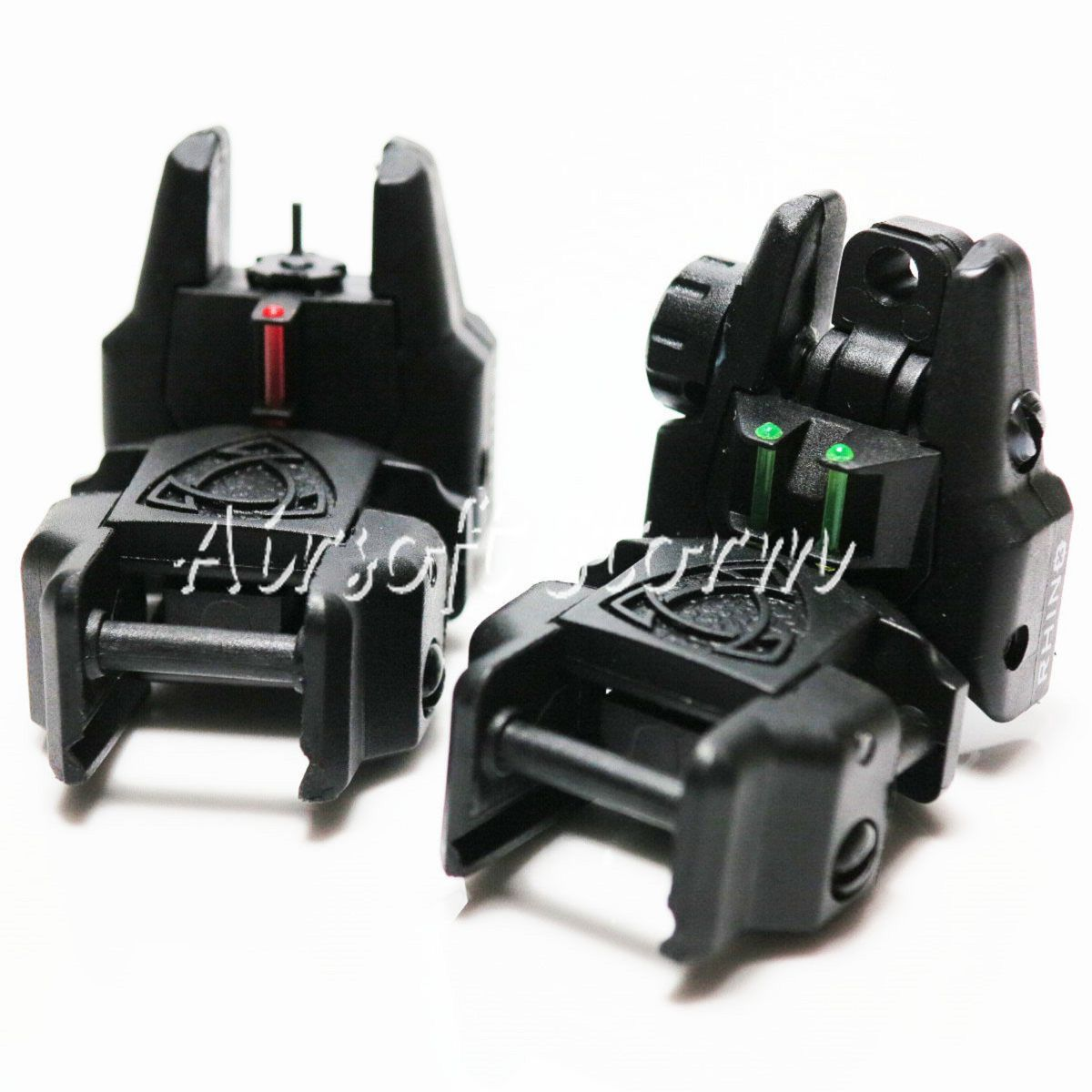 Airsoft AEG Gear APS Rhino Front Rear Sight with Fiber Optic Set Black Green/Red