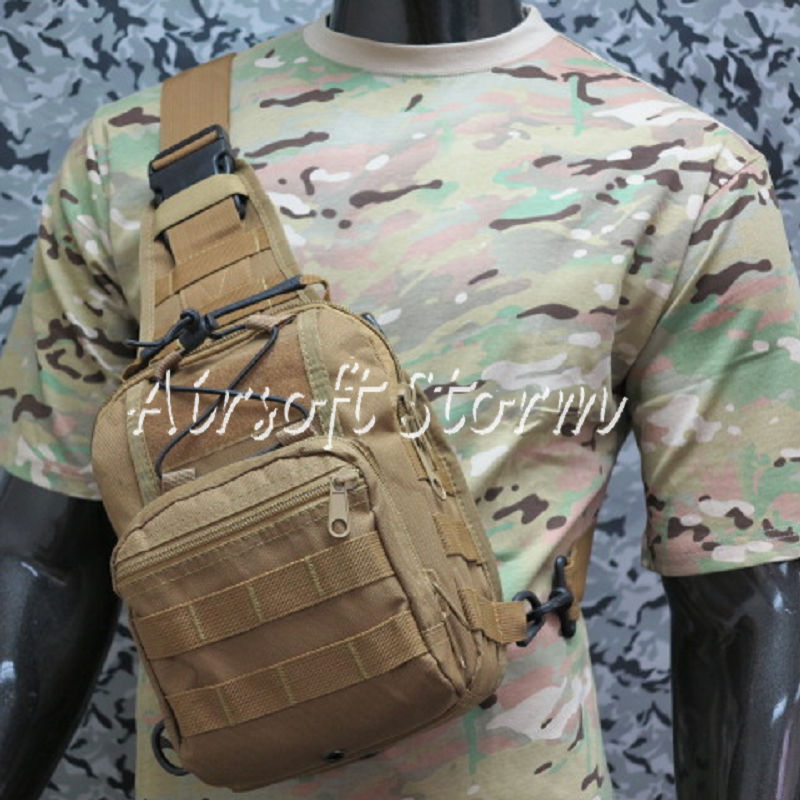 Airsoft Tactical Gear Utility Shoulder Sling Bag Size S Coyote Brown