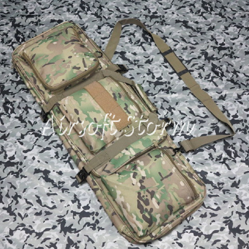 "Airsoft SWAT Tactical Gear 33"" Dual Rifle Carrying Case Gun Bag Multi Camo"