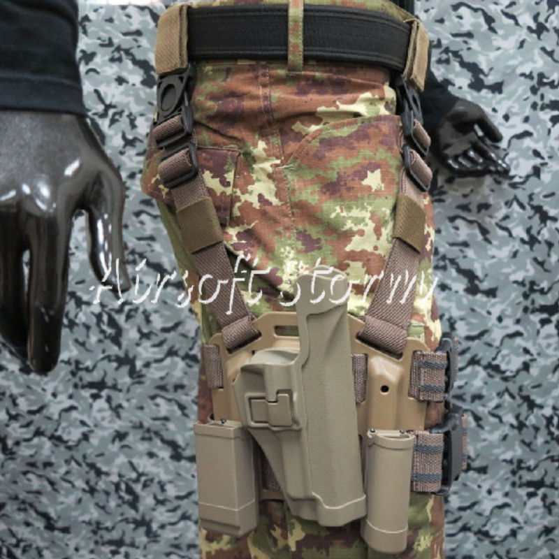 CQC SERPA Tactical SIG P220/P226 RH Drop Leg Holster with Magazine & Light Case Brown