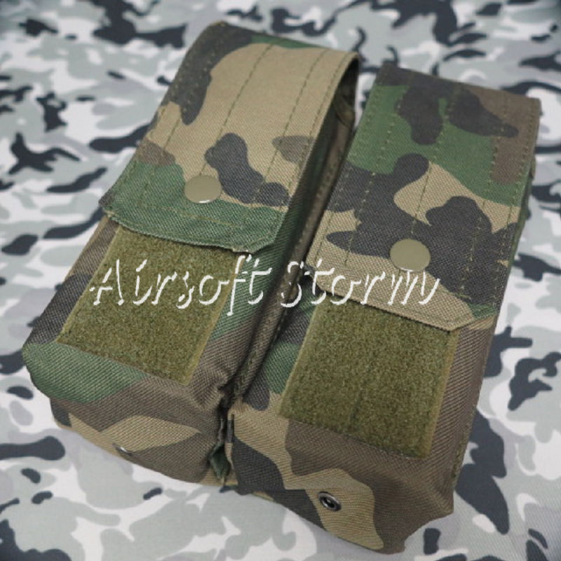 Airsoft SWAT Molle Assault Combat Double AK Magazine Pouch Woodland Camo