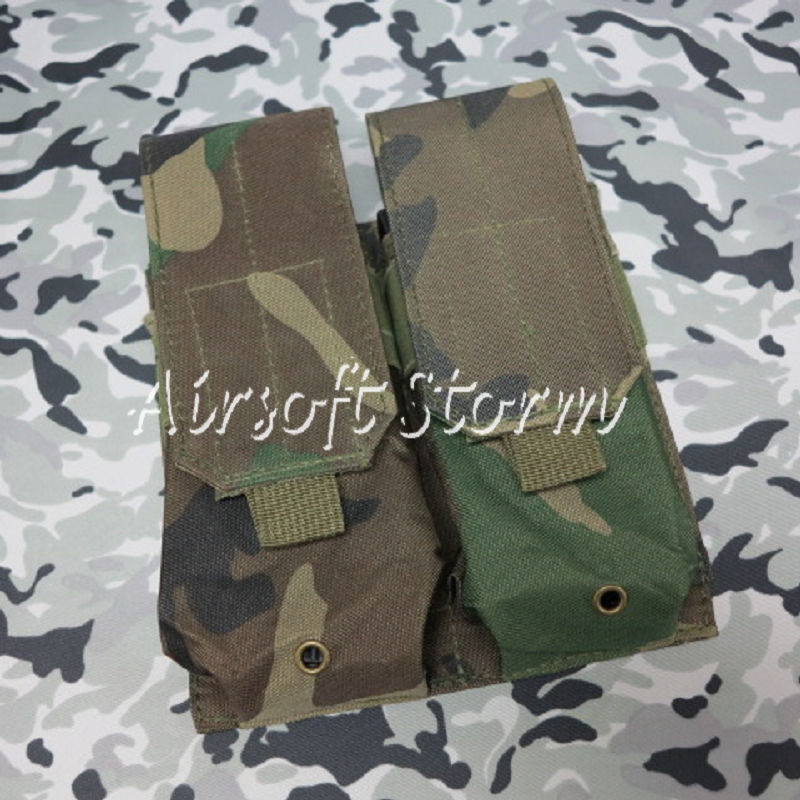 Airsoft SWAT Tactical Molle Assault Combat Double Magazine Pouch Woodland Camo