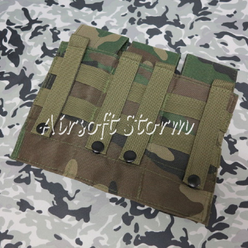 Airsoft SWAT Tactical Molle Assault Combat Triple Magazine Pouch Woodland Camo - Click Image to Close