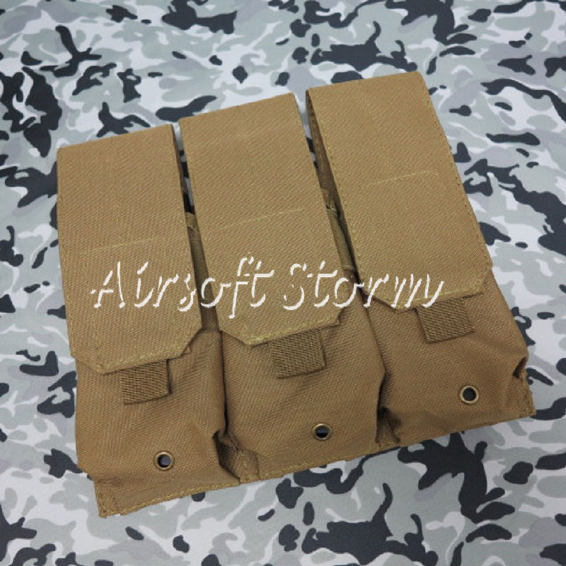 Airsoft SWAT Tactical Molle Assault Combat Triple Magazine Pouch Coyote Brown