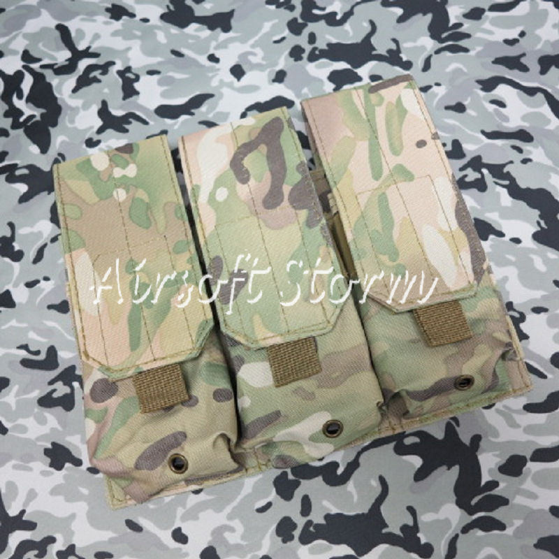 Airsoft SWAT Tactical Molle Assault Combat Triple Magazine Pouch Multi Camo