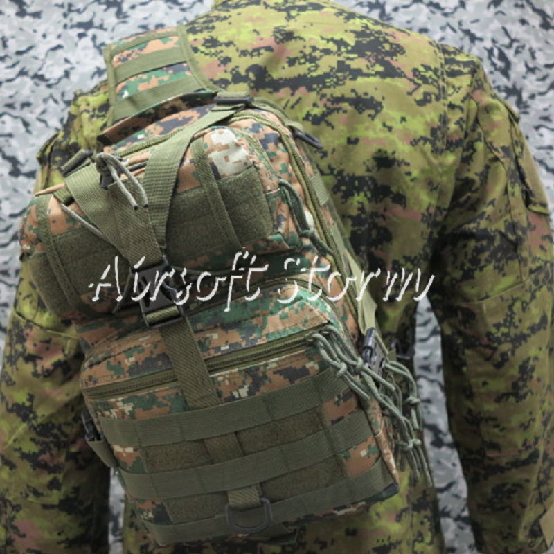 Airsoft Tactical Gear Utility Shoulder Sling Bag Backpack Size L Woodland Digital Camo
