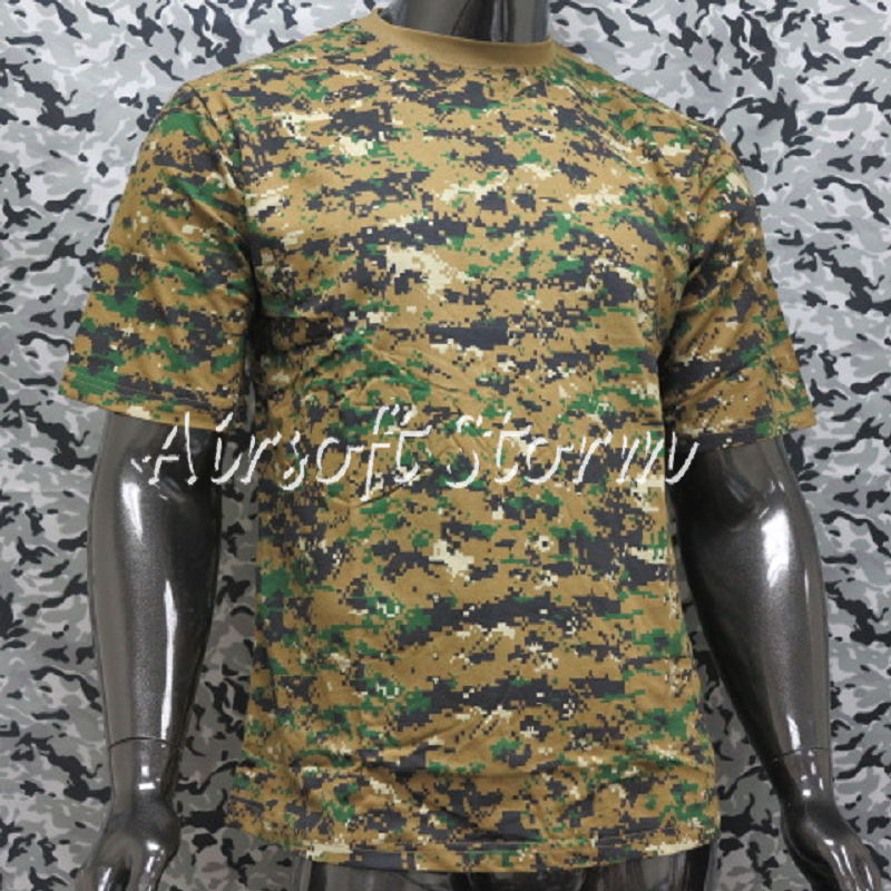 Airsoft Gear Camouflage Short Sleeve T-Shirt Woodland Digital Camo - Click Image to Close