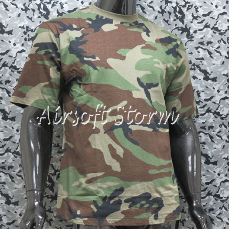 Airsoft Gear Camouflage Short Sleeve T-Shirt Woodland Camo