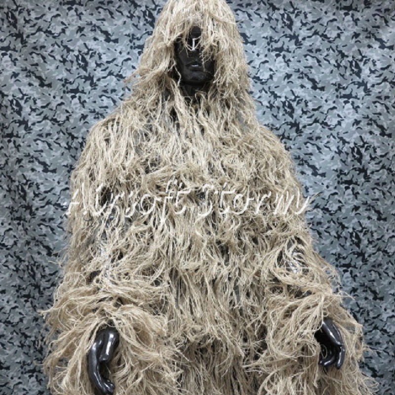 Airsoft Paintball Tactical Gear Hunting Ghillie Suit Mossy Desert Tan