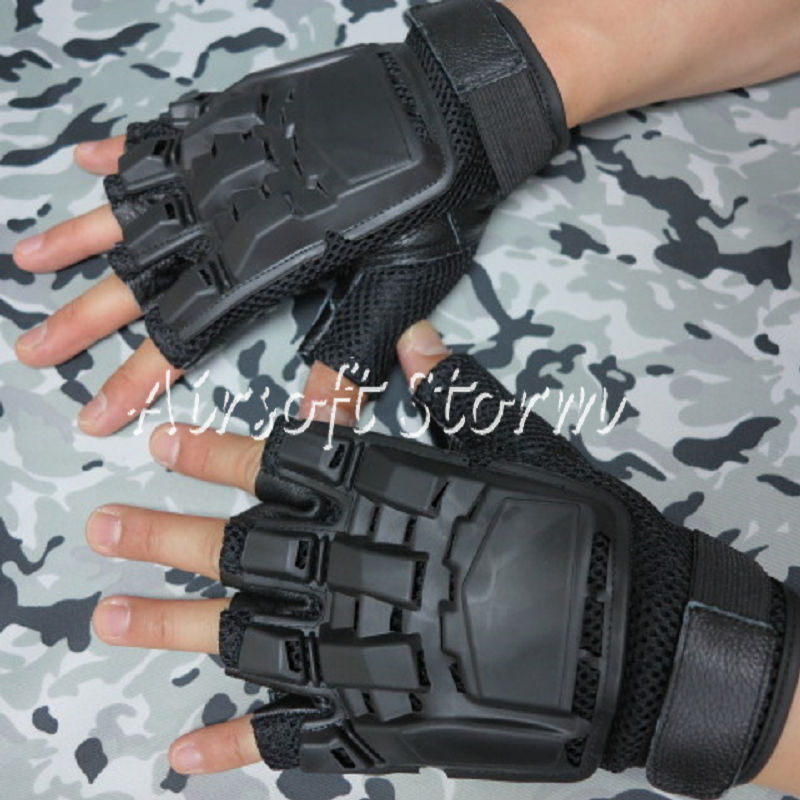 Airsoft-SWAT-Tactical-Gear-Half-Finger-Assault-Combat-Gloves-Black