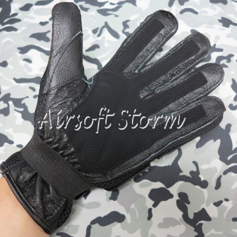 Airsoft SWAT Tactical Gear Full Finger Assault Combat Gloves Black - Click Image to Close