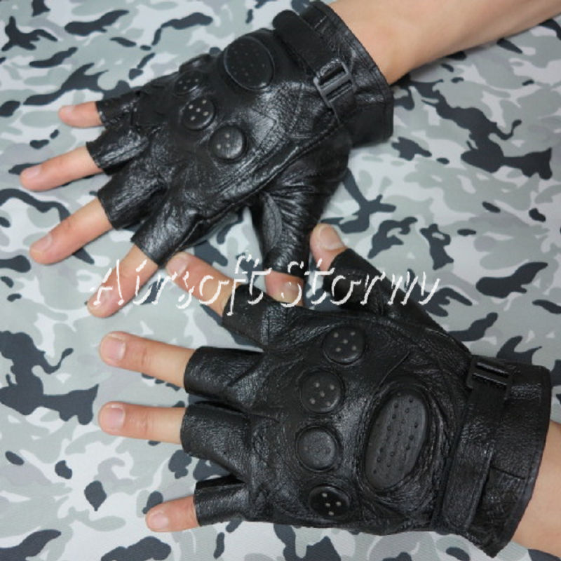 Airsoft-SWAT-Tactical-Gear-Half-Finger-Assault-Combat-Leather-Gloves-Black