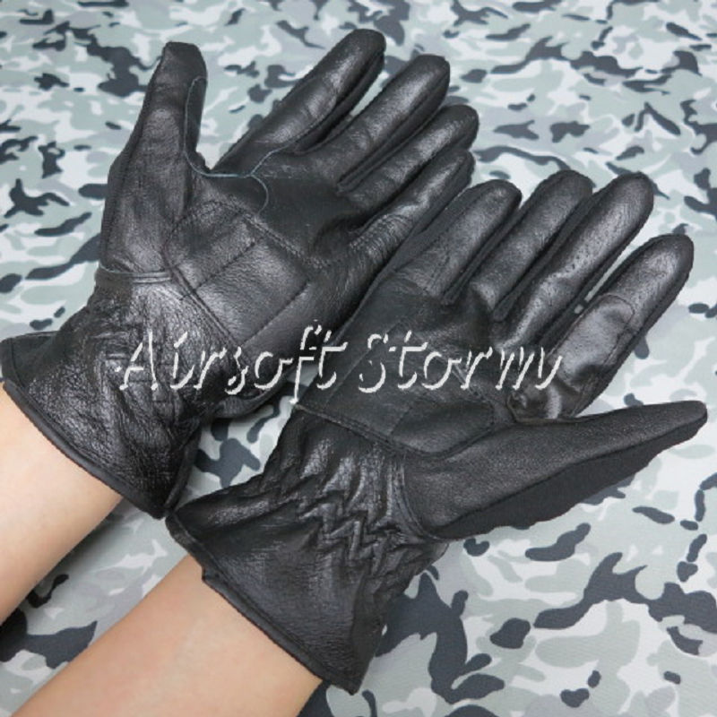 Airsoft SWAT Tactical Gear Full Finger Assault Combat Leather Gloves Black - Click Image to Close