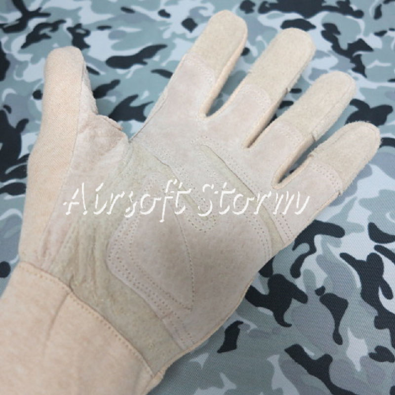 Airsoft SWAT Tactical Gear Mid Arm Full Finger Tactical Flight Gloves Desert Tan