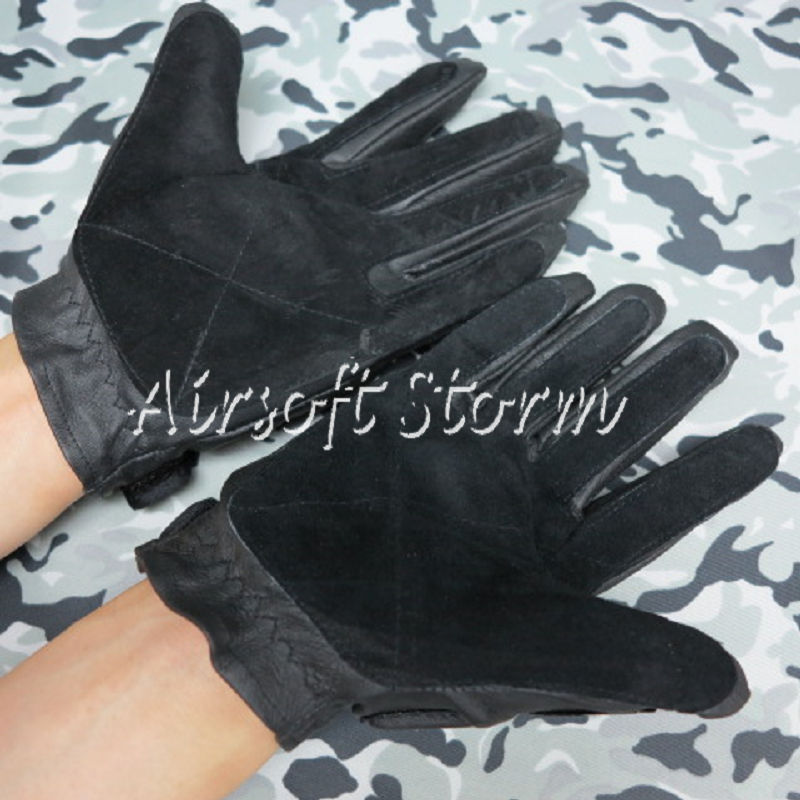 Airsoft SWAT Tactical Gear Full Finger Paintball Assault Combat Gloves Black - Click Image to Close