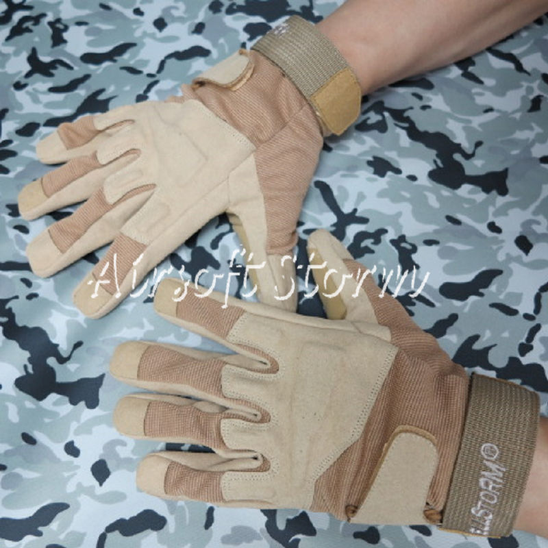 Airsoft SWAT Special Operation Tactical Full Finger Assault Gloves Desert Tan