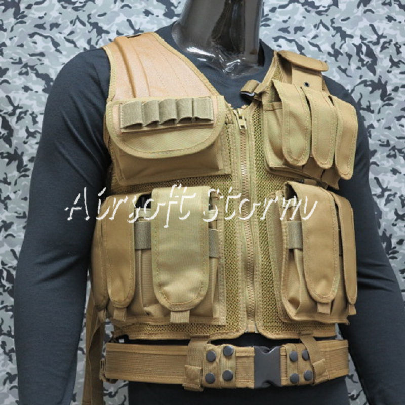 Deluxe Airsoft SWAT Tactical Gear Combat Mesh Vest Coyote Brown