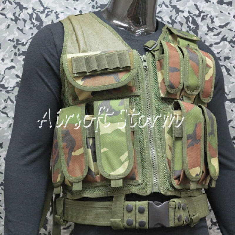 Deluxe Airsoft SWAT Tactical Gear Combat Mesh Vest Woodland Camo