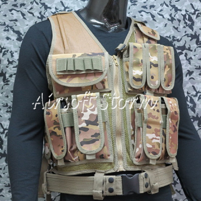 Deluxe Airsoft SWAT Tactical Gear Combat Mesh Vest Multi Camo