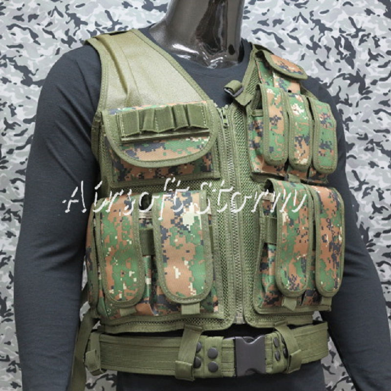 Deluxe Airsoft SWAT Tactical Gear Combat Mesh Vest Woodland Digital Camo
