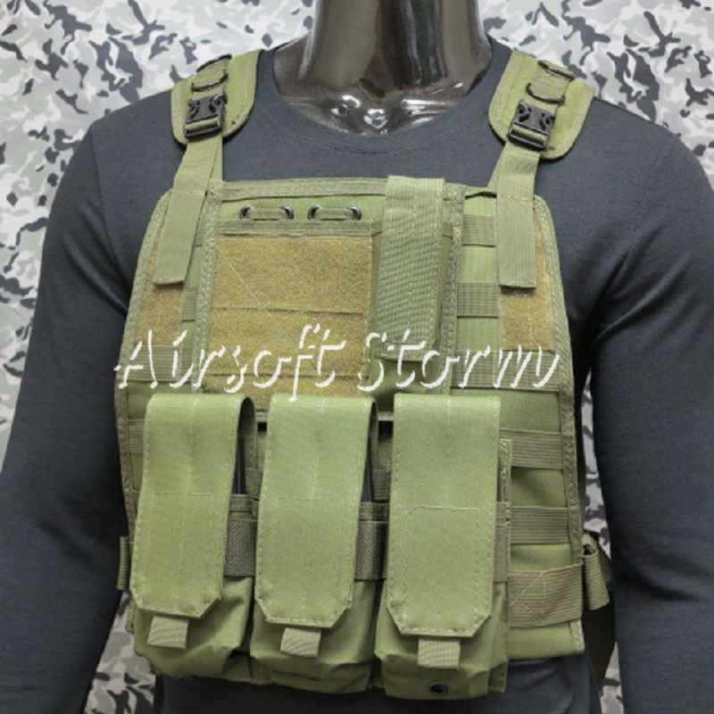 Airsoft SWAT Tactical Gear Marine Assault Plate Carrier Vest Olive Drab OD