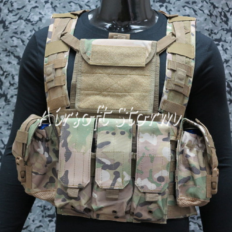 Airsoft SWAT Molle Canteen Hydration Combat RRV Vest Multi Camo