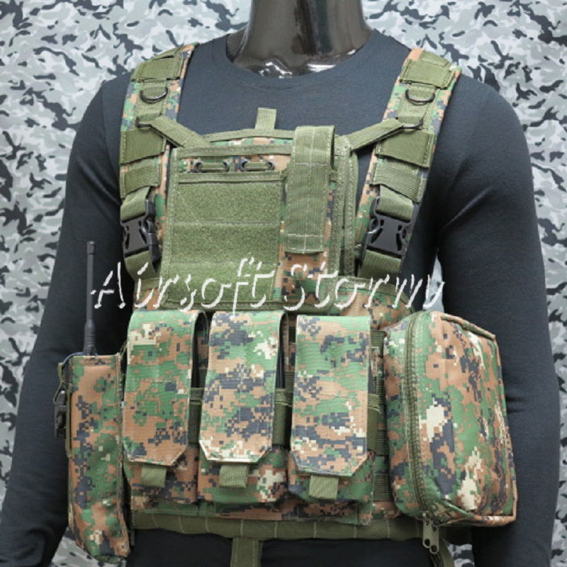 Airsoft SWAT Gear FSBE LBV Load Bearing Molle Assault Vest Woodland Digital Camo