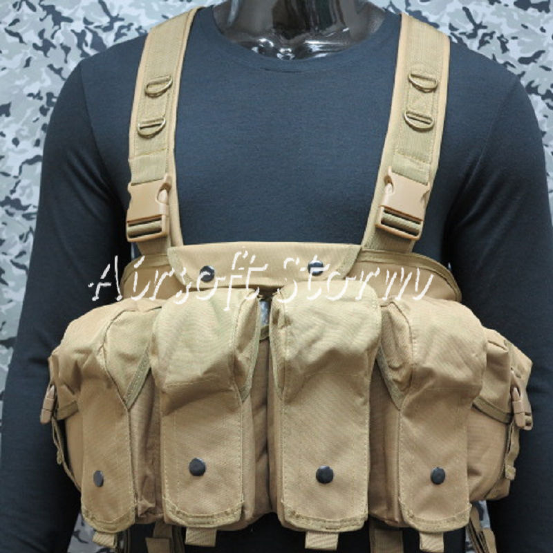 Airsoft SWAT Tactical Gear Magazine Chest Rig Carry Vest Coyote Brown