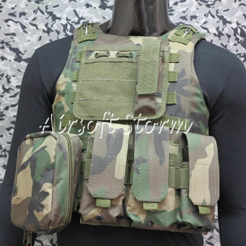 Airsoft Tactical Gear Molle Assault Plate Carrier Combat Vest Woodland Camo