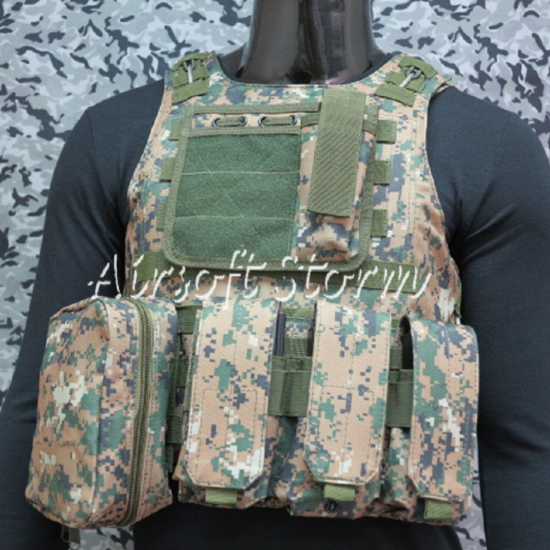 Airsoft Tactical Gear Molle Assault Plate Carrier Combat Vest Woodland Digital Camo