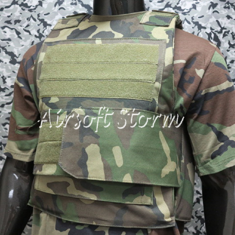 SWAT Black Hawk Down Body Armor Plate Tactical Carrier Vest Woodland Camo