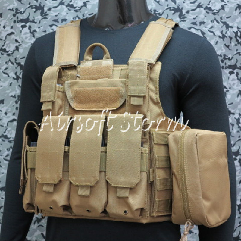 Airsoft SWAT Molle Combat Strike Plate Carrier CIRAS Vest Coyote Brown