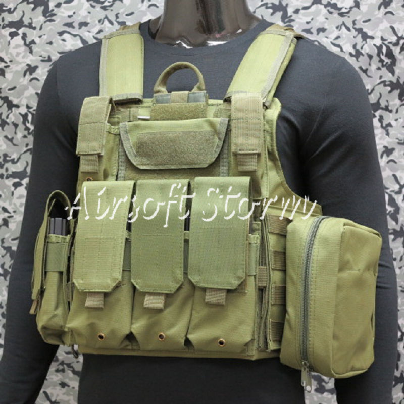 Airsoft SWAT Molle Combat Strike Plate Carrier CIRAS Vest Olive Drab OD