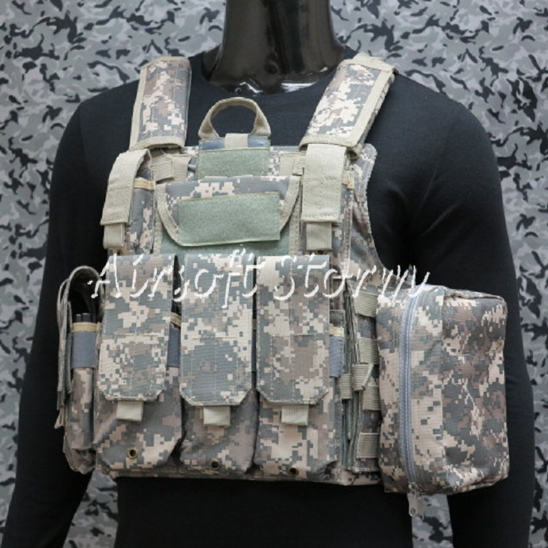 Airsoft SWAT Molle Combat Strike Plate Carrier CIRAS Vest ACU Digital Camo - Click Image to Close