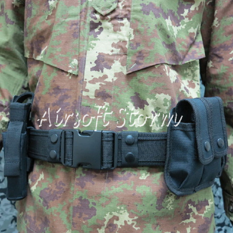 Airsoft SWAT Tactical Gear Combat BDU Modular Pouch Holder Duty Belt with Holster Black