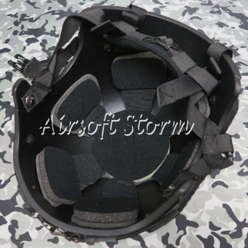 Airsoft Paintball SWAT Tactical Gear IBH Helmet with NVG Mount & Side Rail Black - Click Image to Close