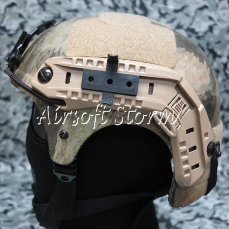 Airsoft Paintball SWAT Tactical Gear IBH Helmet with NVG Mount & Side Rail A-TACS Camo - Click Image to Close