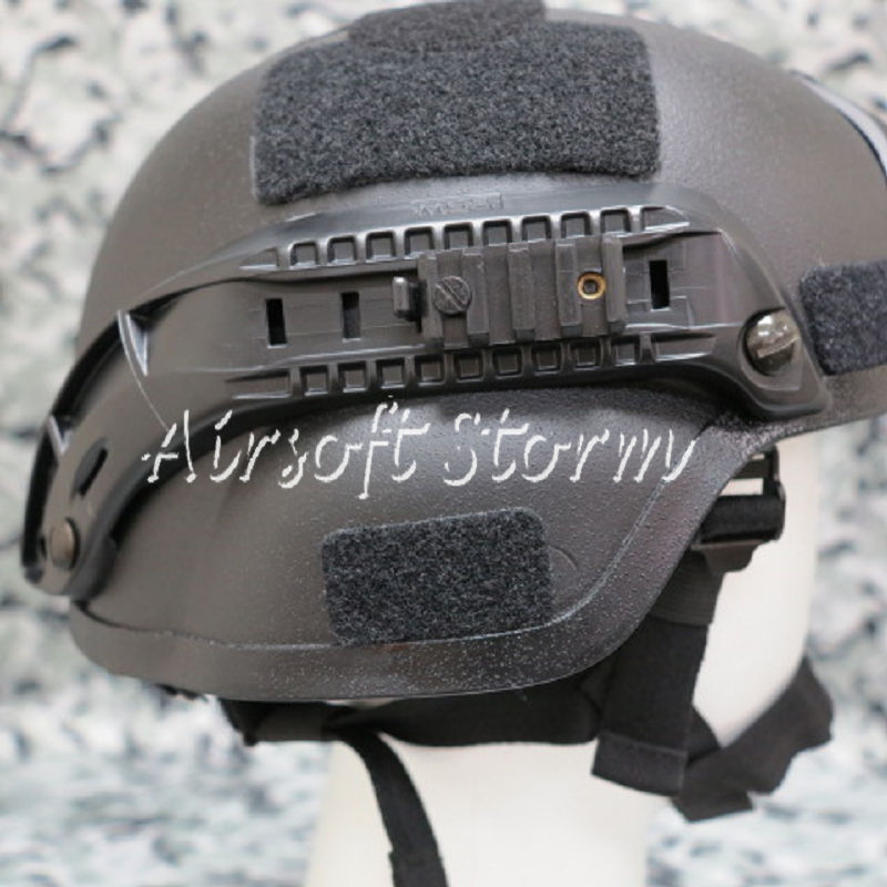 Airsoft Paintball SWAT Gear MICH TC-2000 ACH Helmet with NVG Mount & Side Rail Black - Click Image to Close