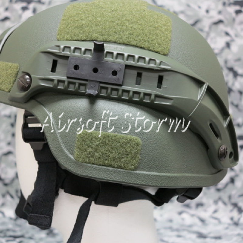 Airsoft Paintball SWAT Gear MICH TC-2000 ACH Helmet with NVG Mount & Side Rail Olive Drab OD - Click Image to Close