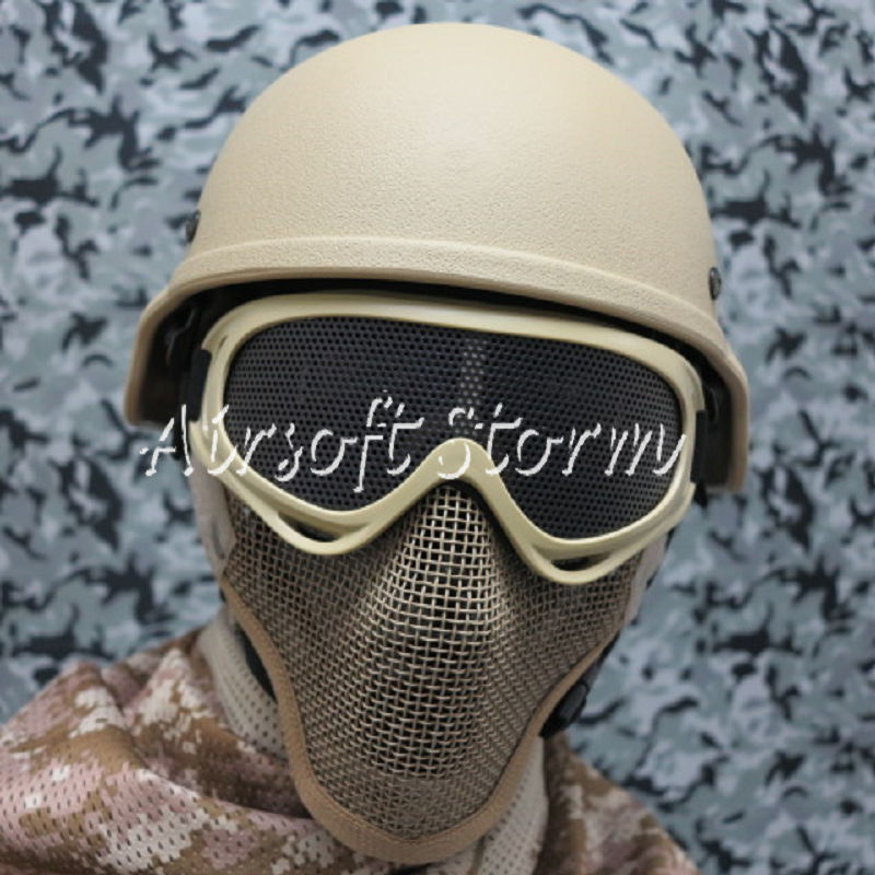 Airsoft SWAT Tactical Gear Deluxe Stalker Type Half Face Metal Mesh Protector Mask Desert Tan