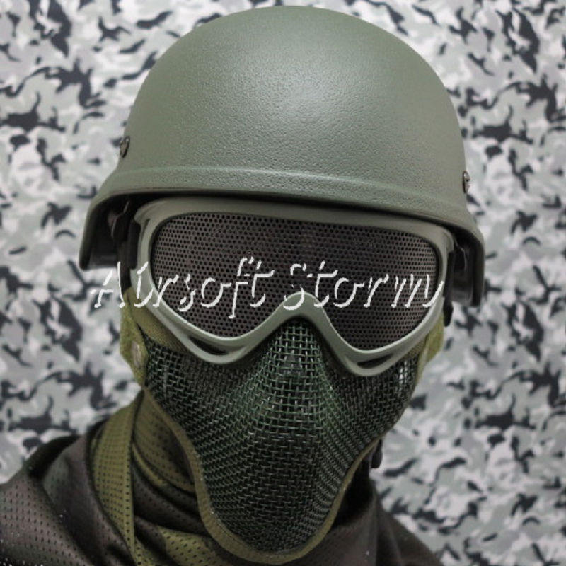 Airsoft SWAT Tactical Gear Deluxe Stalker Type Half Face Metal Mesh Protector Mask Olive Drab OD
