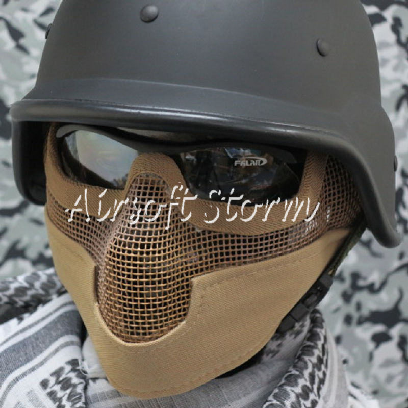 Airsoft SWAT Tactical Gear Stalker Type Half Face Metal Mesh Raider Mask Ver.2 Desert Tan