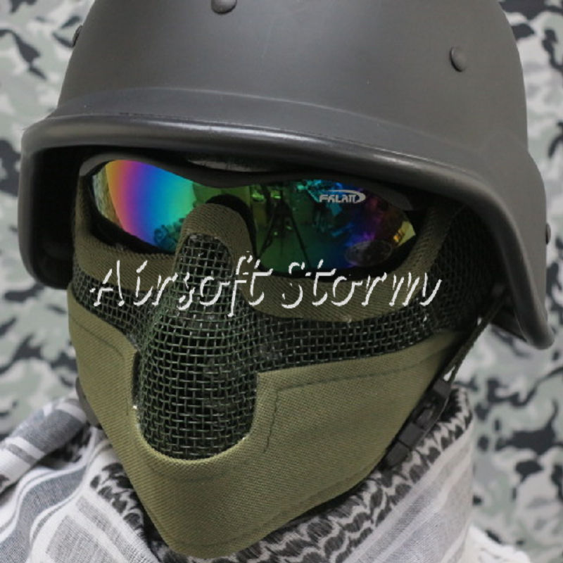 Airsoft SWAT Tactical Gear Stalker Type Half Face Metal Mesh Raider Mask Ver.2 Olive Drab OD