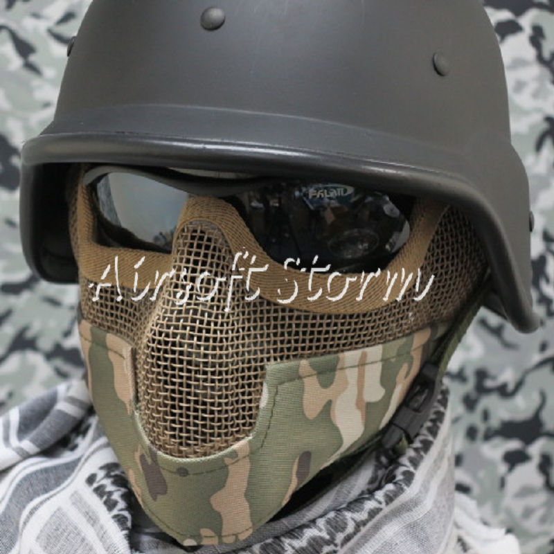 Airsoft SWAT Tactical Gear Stalker Type Half Face Metal Mesh Raider Mask Ver.2 Multi Camo